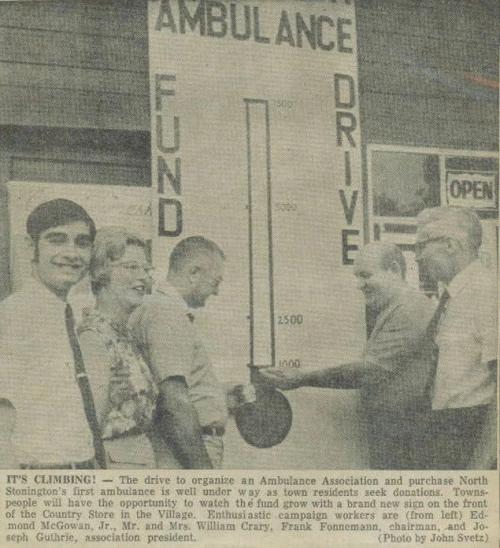 newspaper photo of an ambulance fundraiser from the 1970s
